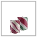 "Holiday Stripe Pillar Candles - 3"" x 4"" - Candy Cane dad-p-s-cc"