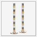 "Bands Straight Sided Candle - Grey/ Gold/ Pearl - 7/8"" x 12"" (Pair) etal-ss-cc15gygr"